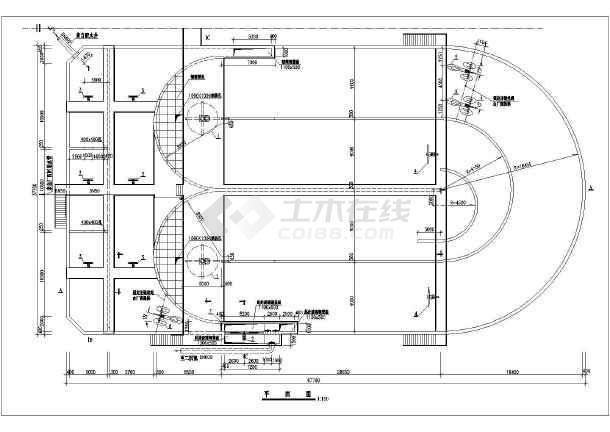 某地区工业废水处理氧化沟施工CAD图-图一