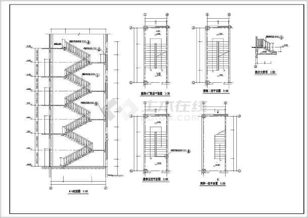 点击查看楼梯、电梯、卫生间装修设计大样节点详图第1张大图