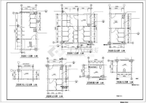 楼梯、电梯、卫生间装修设计大样节点详图-图1