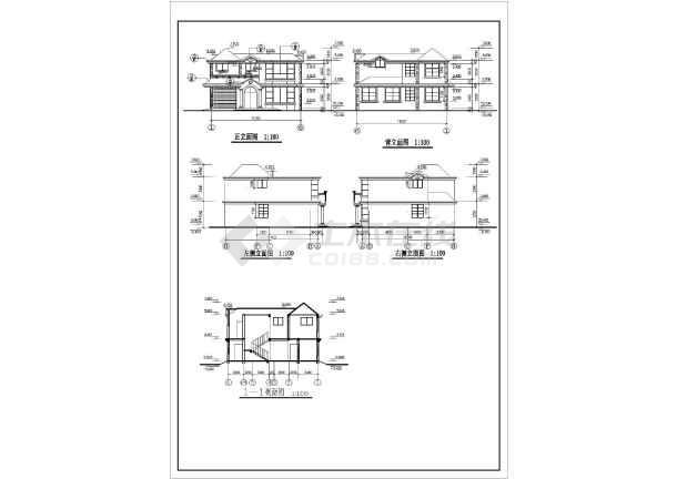 某小区混凝土别墅CAD设计全套图纸-图1