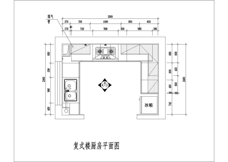 某住宅户型整体厨房设计cad施工方案图片3