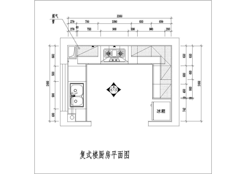 室内整体厨房装修cad设计施工方案图纸图片3