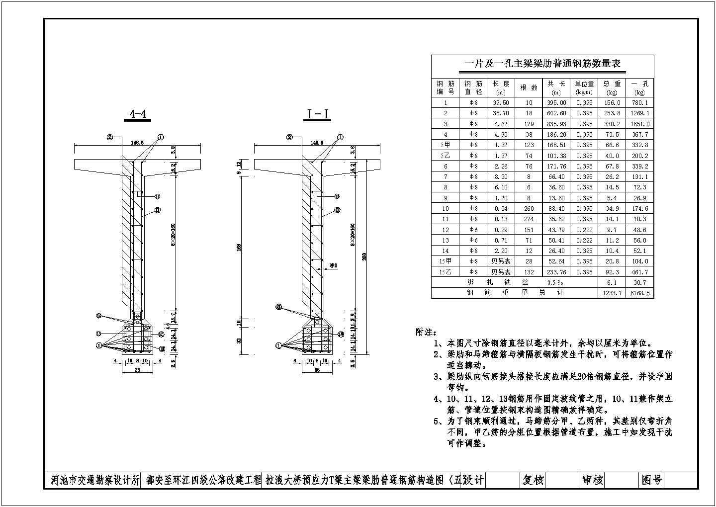 40米预应力T梁结构全套CAD设计图图片2