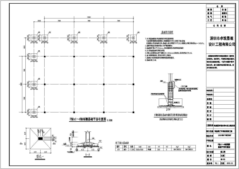 某地餐厅钢结构框架雨棚基础平面布置设计图图片1