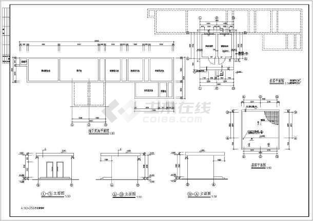 一层医院污水处理机房氧气站建筑caf施工图-图2