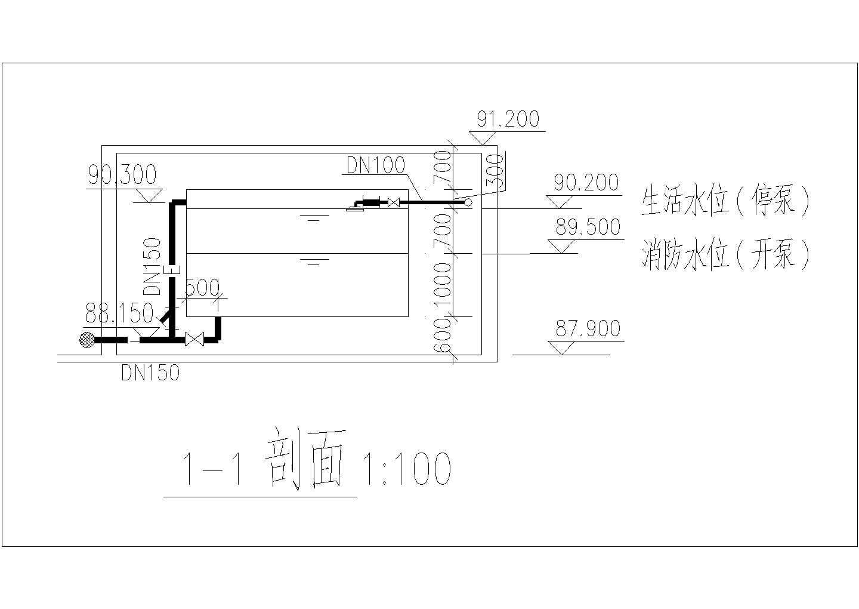 某水箱间给排水管道布置cad施工图图片1