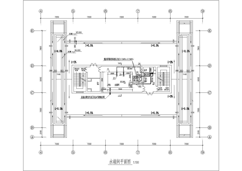 某水箱间给排水管道布置cad施工图图片3
