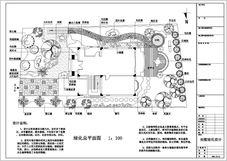 某别墅景观绿化设计CAD平面图纸图片1