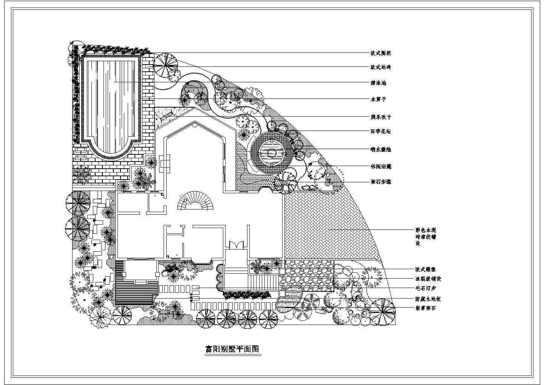 富阳别墅景观绿化设计CAD平面图纸图片1