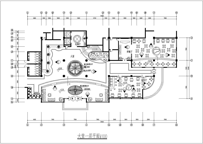 某地西餐厅一层平面图建筑设计CAD施工图图片1