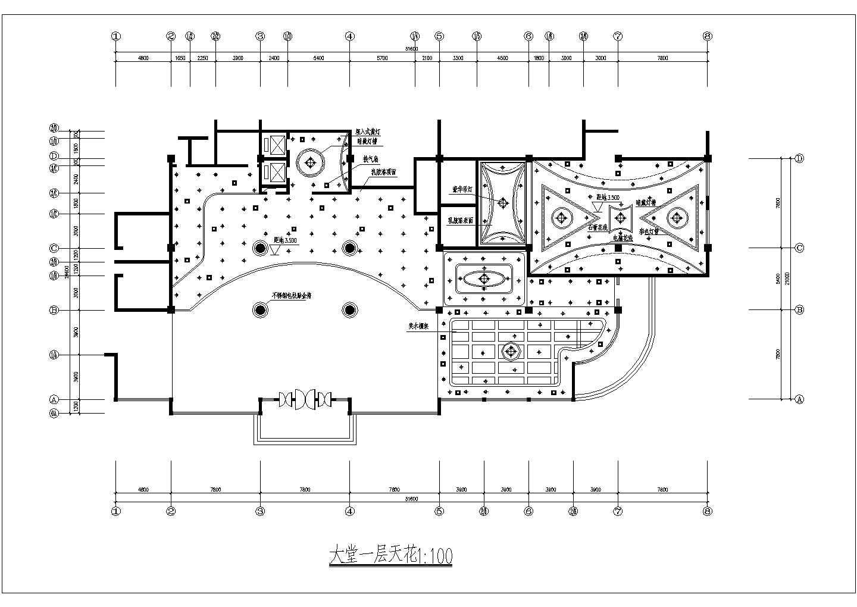 某地西餐厅一层平面图建筑设计CAD施工图图片2