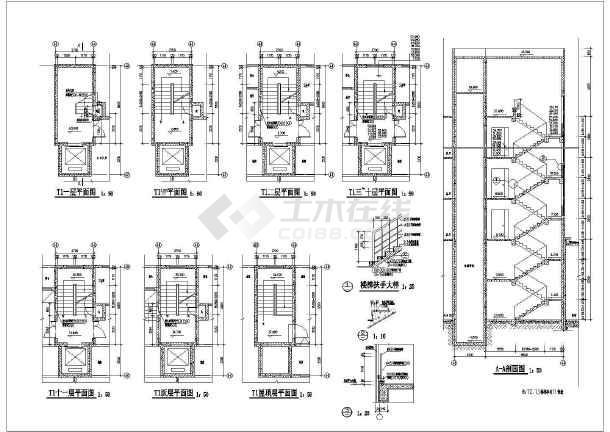 某住宅卫生间及楼梯建筑设计节点详图-图一