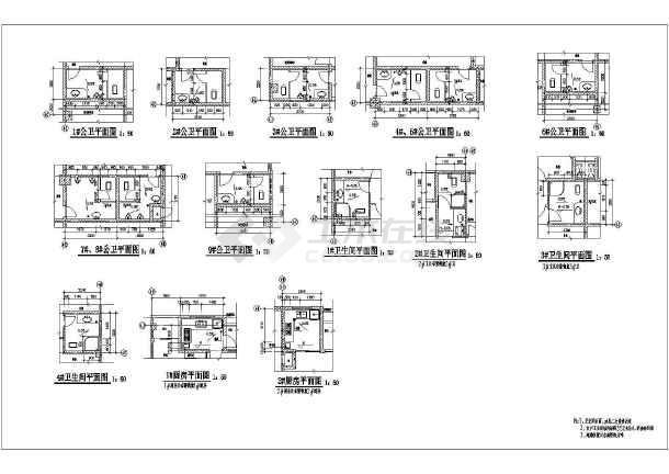 某住宅卫生间及楼梯建筑设计节点详图-图2