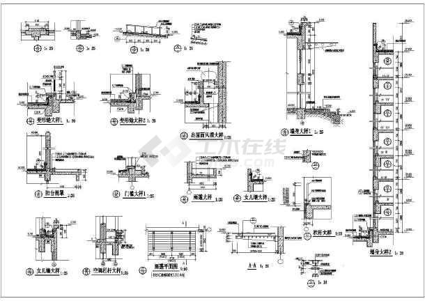 某住宅卫生间及楼梯建筑设计节点详图-图3