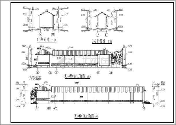 某园林亭廊cad施工图-图1