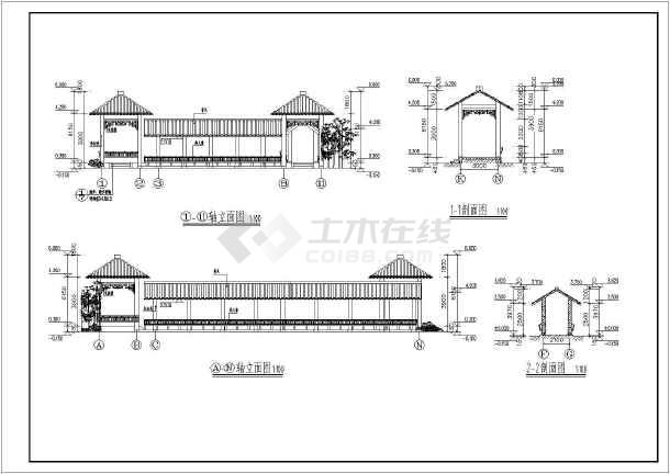某园林亭廊cad施工图-图2
