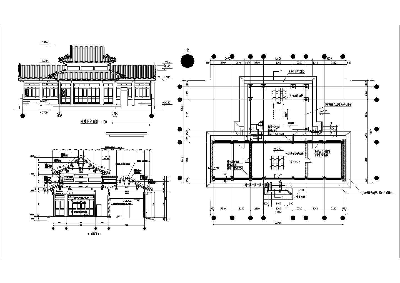 某地仿古建筑方案设计施工CAD图图片1