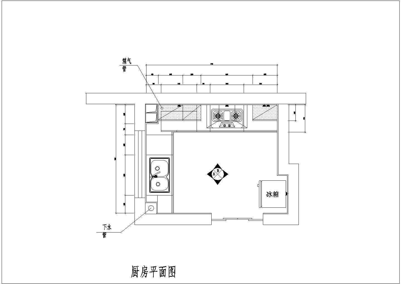 某整体厨房室内装修设计方案cad施工图图片2