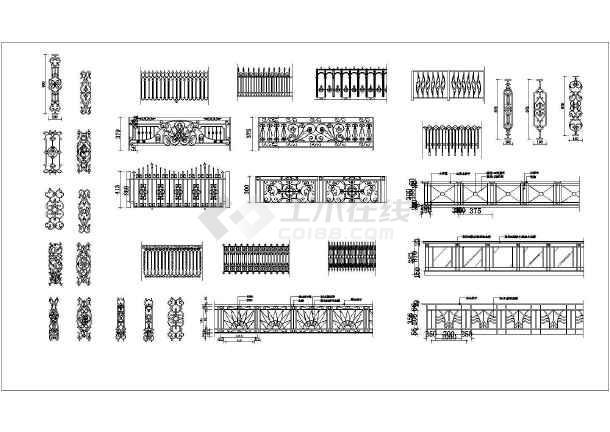 某铁艺栏杆方案cad设计施工图纸-图一