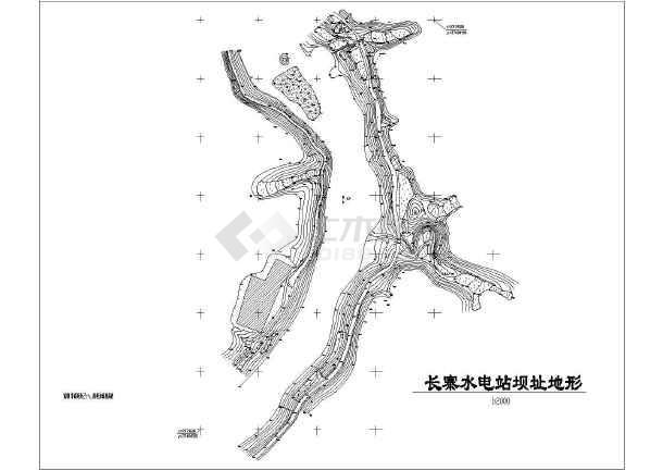 xx电站坝址地形cad设计规划图纸-图1