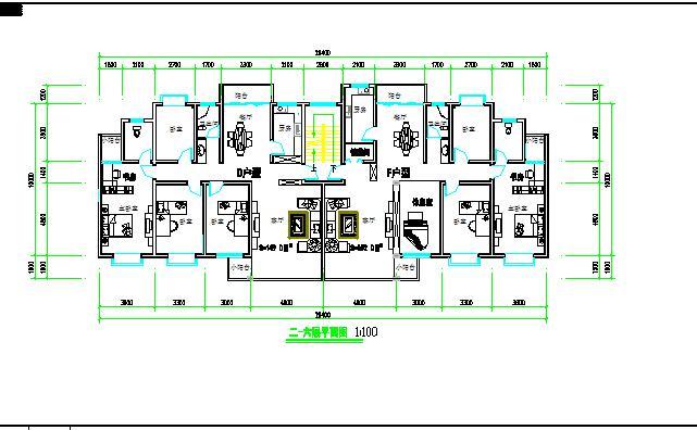 某小区多层一梯两户住宅建筑设计平面图图片2