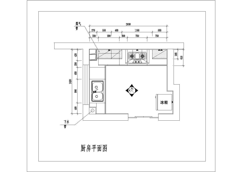 某地区室内整体厨房装修cad设计施工方案图图片1