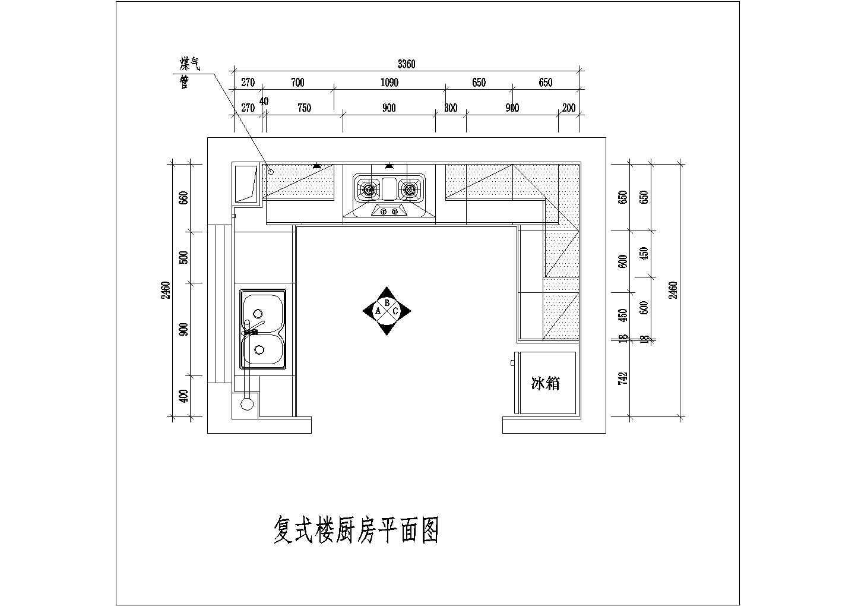 某地区室内整体厨房装修cad设计施工方案图图片3