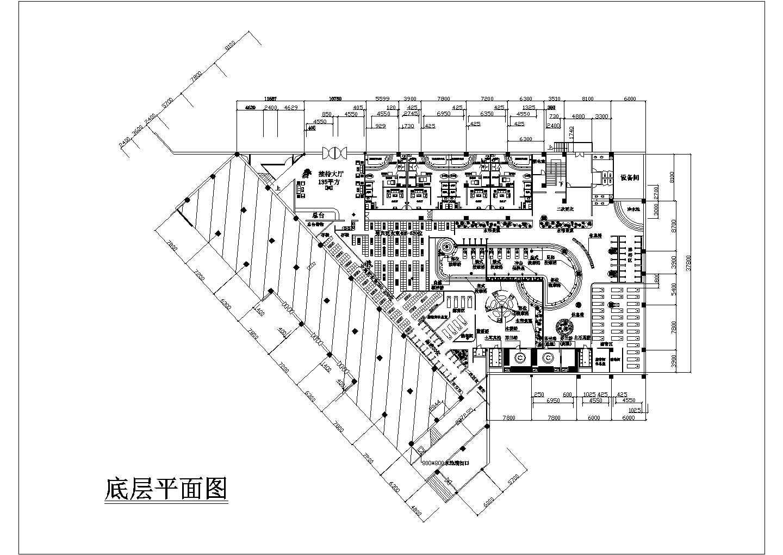 某桑拿浴场建筑设计CAD底层平面图图片1