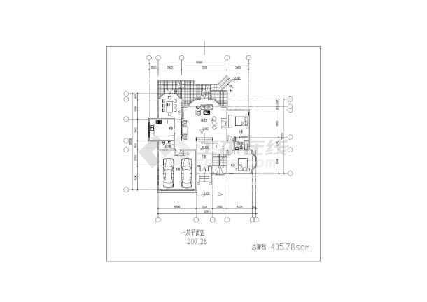 比较详细的一套坡地独栋别墅方案设计建筑图-图1
