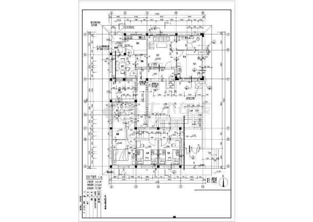 某地经典别墅户型图设计施工CAD图图纸-图2