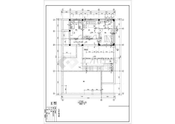 某地经典别墅户型图设计施工CAD图图纸-图3