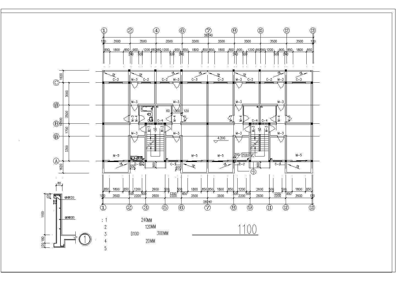 长40米 宽10.5米 六层安置楼二单元1968平米对称户型住宅楼图纸图片2