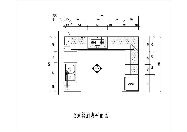 整体厨房室内装修设计方案cad施工图详细图片2