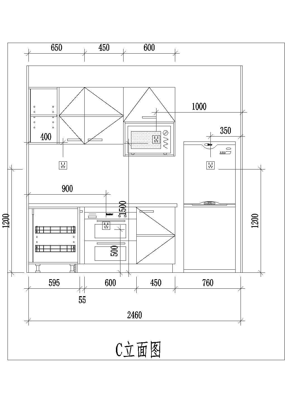 整体厨房室内装修设计方案cad施工图详细图片3