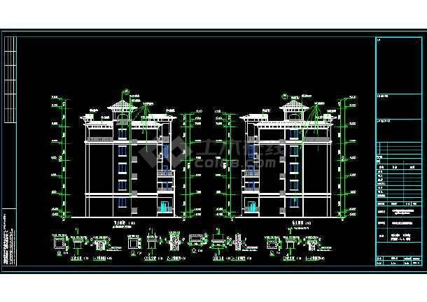 点击查看某三层局部两层别墅建筑设计图第1张大图