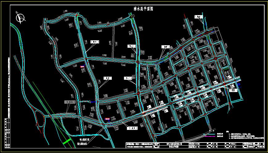 城市道路排水总平面图图片1