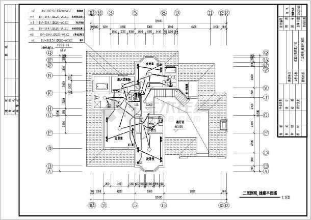 物美别墅建筑电气设计CAD全套施工图-图3