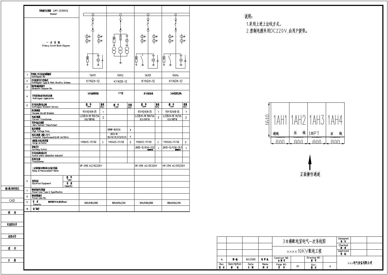 某小区配电高低压开关柜cad电气图纸图片1