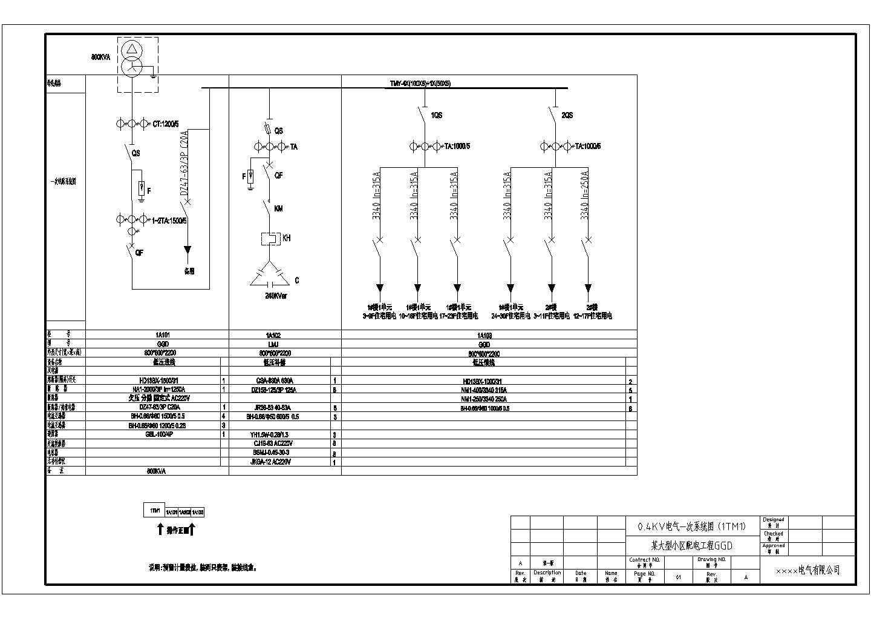 某小区配电用GGD型低压开关柜电气原理图-24台图片1