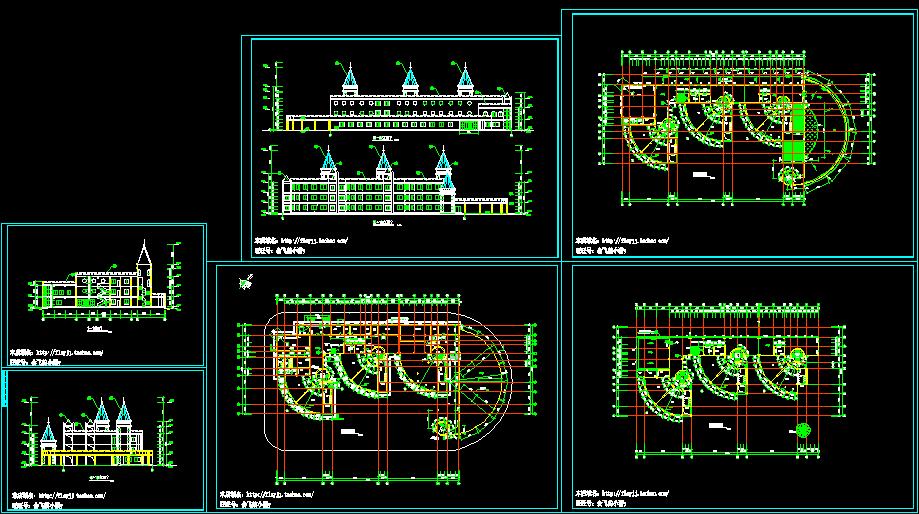 长59.4米 宽29米 三层幼儿园平立剖面设计图(无屋顶平面图)图片1