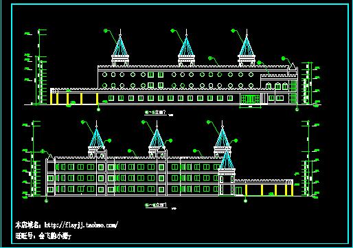 长59.4米 宽29米 三层幼儿园平立剖面设计图(无屋顶平面图)图片2