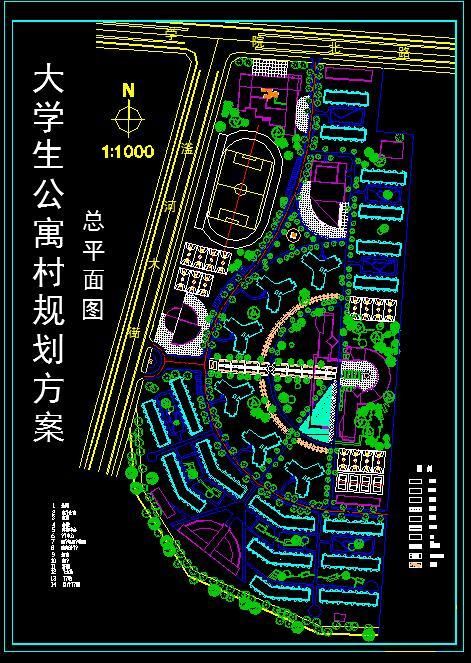 比较详细的大学城建筑总平面图(节点详细)图片1