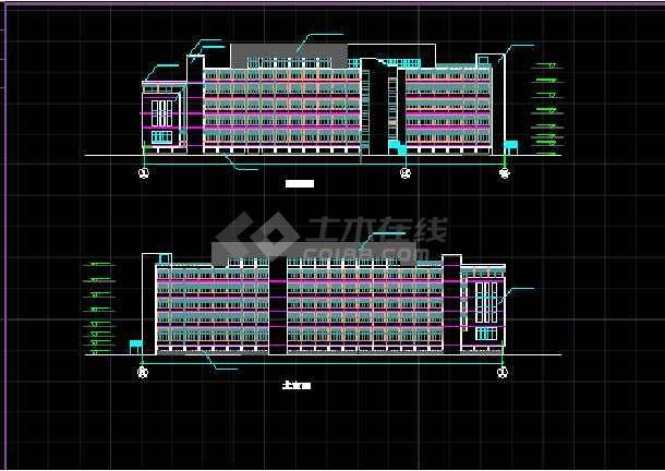 某学校体育馆建筑CAD活动中心立面图纸-图2
