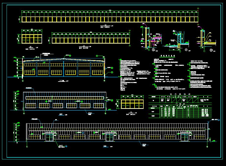 某地某单层钢结构工业厂房设计cad施工图纸图片3