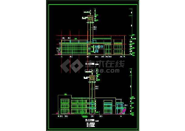 某三层大学生活动中心建筑设计cad施工方案图纸-图2