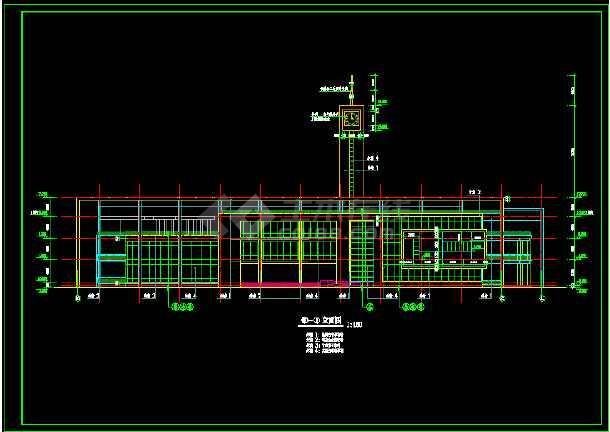 某三层大学生活动中心建筑设计cad施工方案图纸-图3