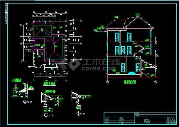 某三层别墅总建筑面积808.45平米CAD施工图-图1