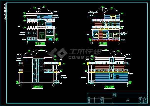 某三层别墅总建筑面积808.45平米CAD施工图-图2