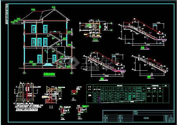 某三层别墅总建筑面积808.45平米CAD施工图-图3