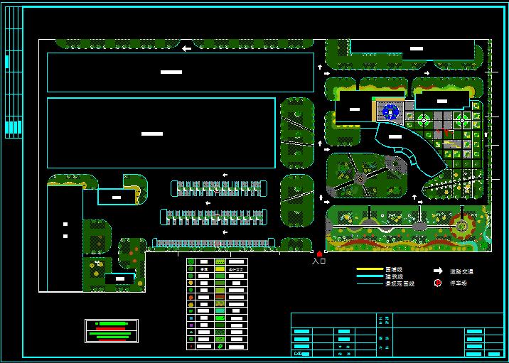 某厂区景观绿化规划cad设计图纸图片1